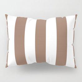 Italian roast purple - solid color - white vertical lines pattern Pillow Sham