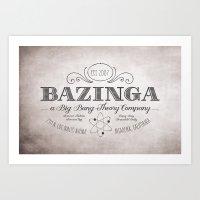 bazinga Art Prints featuring Bazinga Vintage by Nxolab
