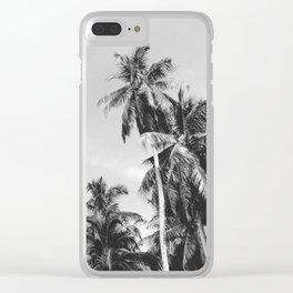 Palms Trees on the San Blas Islands, Panama - Black & White Clear iPhone Case