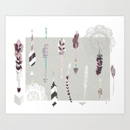 Feathers and arrows Art Print