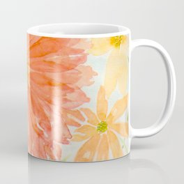 Orange Coral and Yellow Daisy Watercolor Flower Coffee Mug