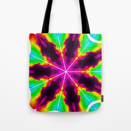 Rainbow Fire Starburst Tote Bag