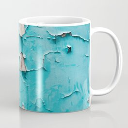 Blue old urban wall with cracked and grunge texture, weathered concrete structure close up view. Coffee Mug