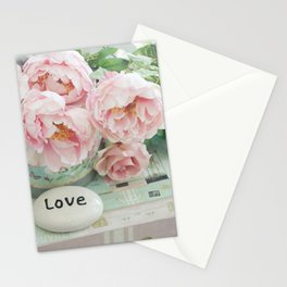 Pink Peonies Shabby Chic Cottage Peony Love Floral Prints Home Decor Stationery Cards