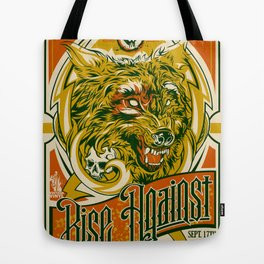 Rise Against band poster for appearance at record store Tote Bag