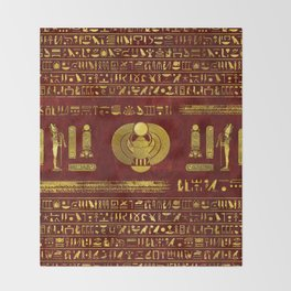 Golden Egyptian Scarab on red leather Throw Blanket