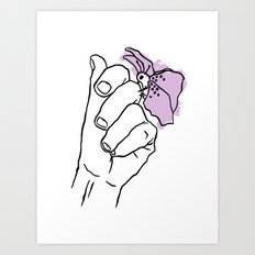 A Hand with a Butterfly Art Print