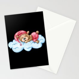 Cute bear sleeping on a cloud in sleeping dress Stationery Cards