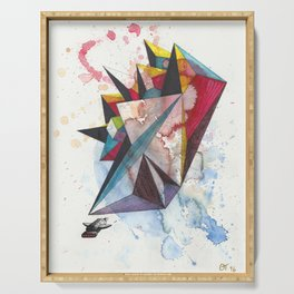 Abstract Encounter - colorful geometrical spacecraft on paper Serving Tray