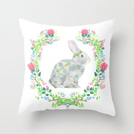 Bunny and wreath Throw Pillow