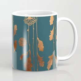 Art Deco Copper Flowers  Coffee Mug