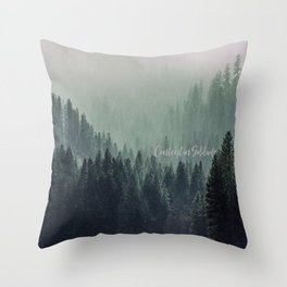Content in Solitude #forest #trees #landscape Throw Pillow