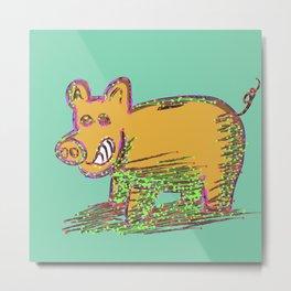 Pig Vector Selection Metal Print