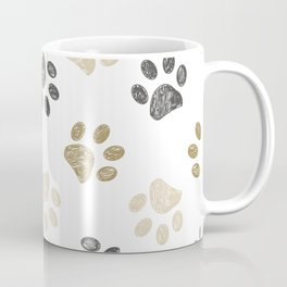 Doodle grey and gold paw print seamless fabric design repeated pattern background Coffee Mug
