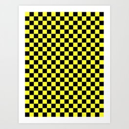 Black and Electric Yellow Checkerboard Art Print