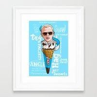 hot fuzz Framed Art Prints featuring Hot Fuzz Cornetto by Josh Filhol Illustration