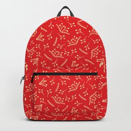 Christmas Branches and Berries in red and yellow Backpack