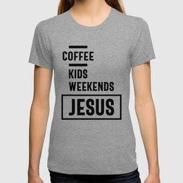 Coffee Kids Weekends Jesus Tee Gift! Christian Apparel T-shirt