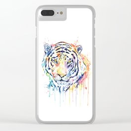 Tiger - Rainbow Tiger - Colorful Watercolor Painting Clear iPhone Case