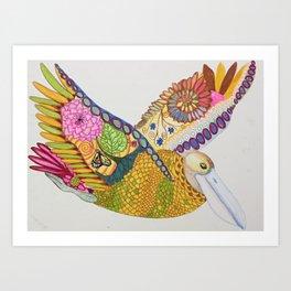 Rainbow Pelican Art Print