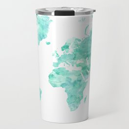 Teal aquamarine watercolor world map Travel Mug