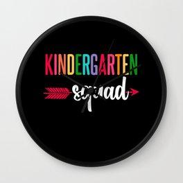 Team Kindergarten Squad First Day Teacher Kids Wall Clock