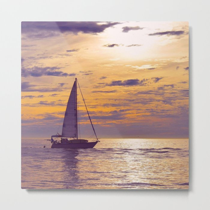 Silhouetted Sail Metal Print