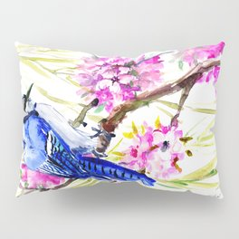 Blue Jay and Cherry Blossom, Blue Pink Birds and Flowers Pillow Sham