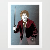hobbit Art Prints featuring Hobbit by Digital Sketch