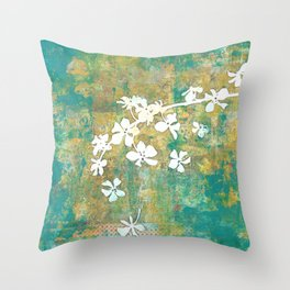 Falling Cherry Blossom Throw Pillow