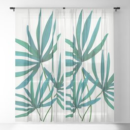 Fan Palm Fronds / Tropical Plant Illustration Sheer Curtain