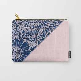 Blush pink navy blue hand drawn modern floral Carry-All Pouch