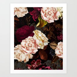 Vintage & Shabby Chic - Midnight Rose and Peony Garden Art Print