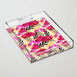 Vibrant Floral Wallpaper Acrylic Tray