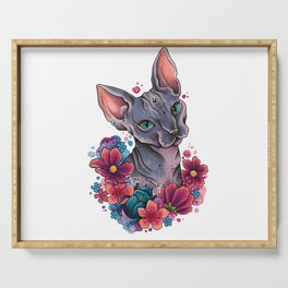 Neo Traditional Sphynx cat and flowers Serving Tray