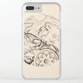 Sun wolf, moon wolf Clear iPhone Case