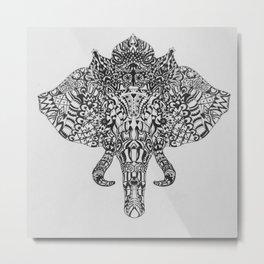 Tribal Elephant Head Metal Print