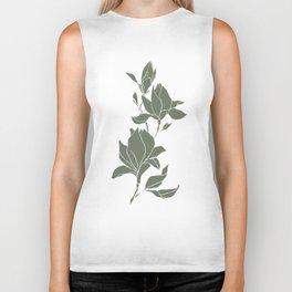 Botanical illustration line drawing - Magnolia Green Biker Tank