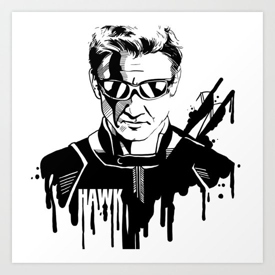 Avengers in Ink: Hawkeye Art Print