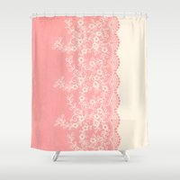 aelwen Shower Curtains featuring Lace #CoralPink by Armine Nersisian