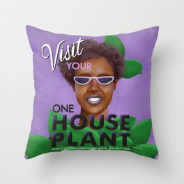 Stay the F Home One House Plant Poster Throw Pillow