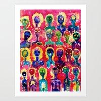 aliens Art Prints featuring aliens  by Verismaya
