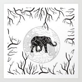 Black Elephant and Tree Branches Art Print