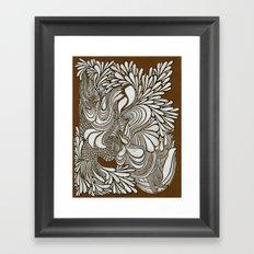 White Pattern Framed Art Print