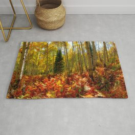 Crested Butte Autumn Aspen Trees Red Ferns  Rug