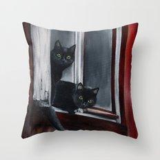 Barn Cats Throw Pillow