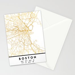 BOSTON MASSACHUSETTS CITY STREET MAP ART Stationery Cards