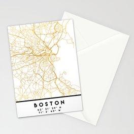 BOSTON MASSACHUSETTS CITY STREET MAP ART Stationery Cards