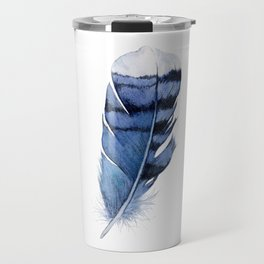 Blue Feather, Blue Jay Feather, Watercolor Feather, Art Watercolor Painting by Suisai Genki Travel Mug