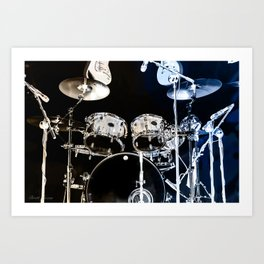 DRUMS BLUE AND GOLD Art Print